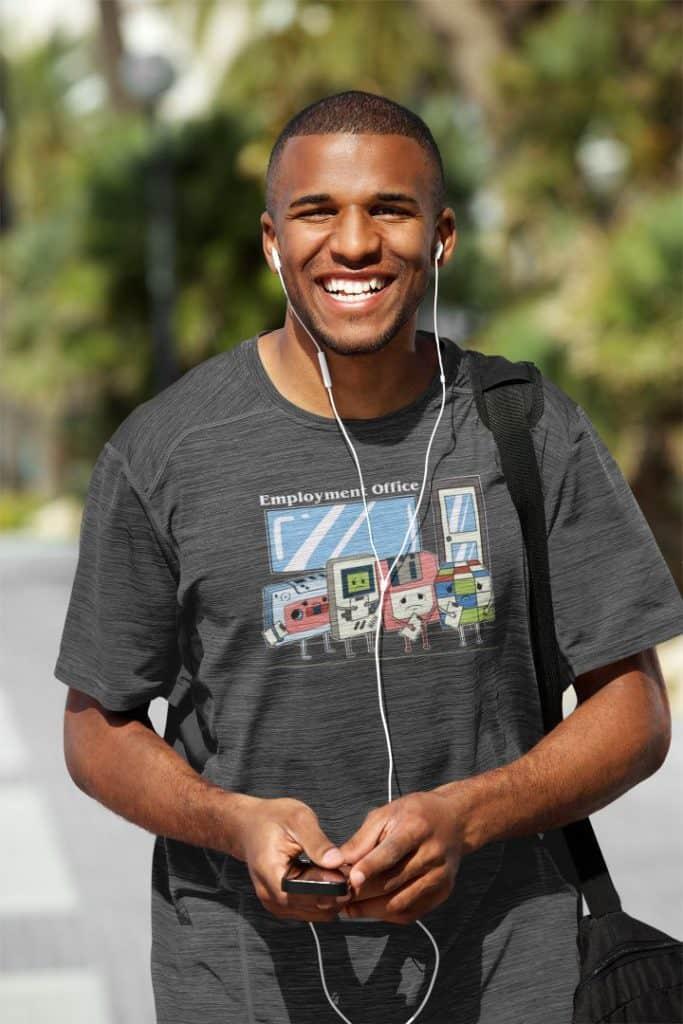 mockup of a happy young man wearing a loose t shirt 38924 r el2