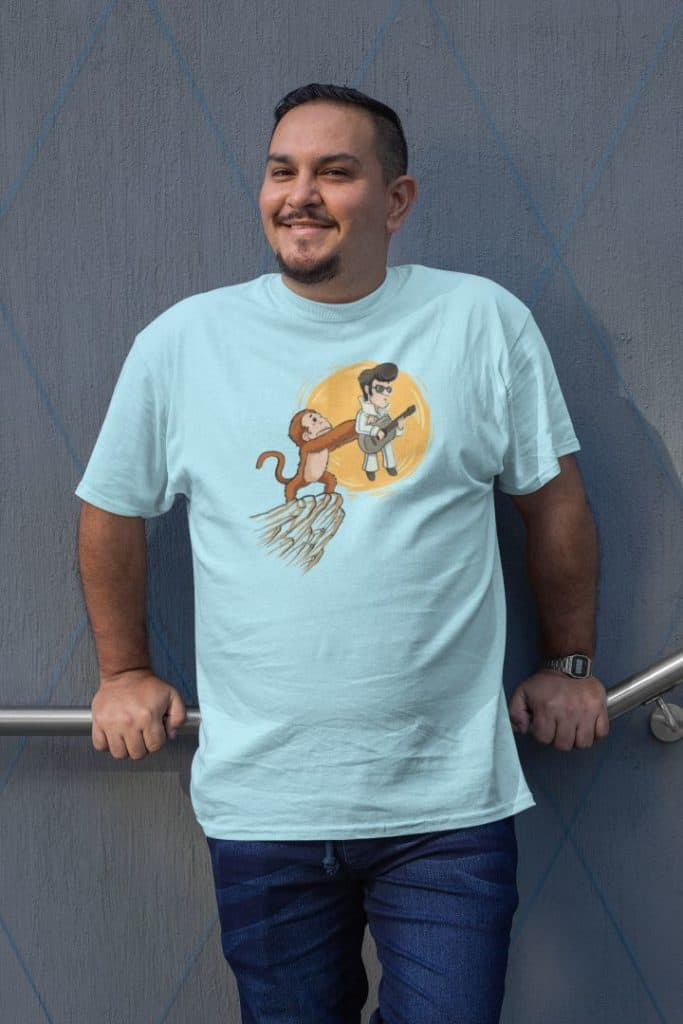 photo of a chirpy man wearing a plus size shirt with a monkey and R&R king design
