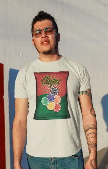 t shirt mockup featuring a tattooed man at sunset 32813