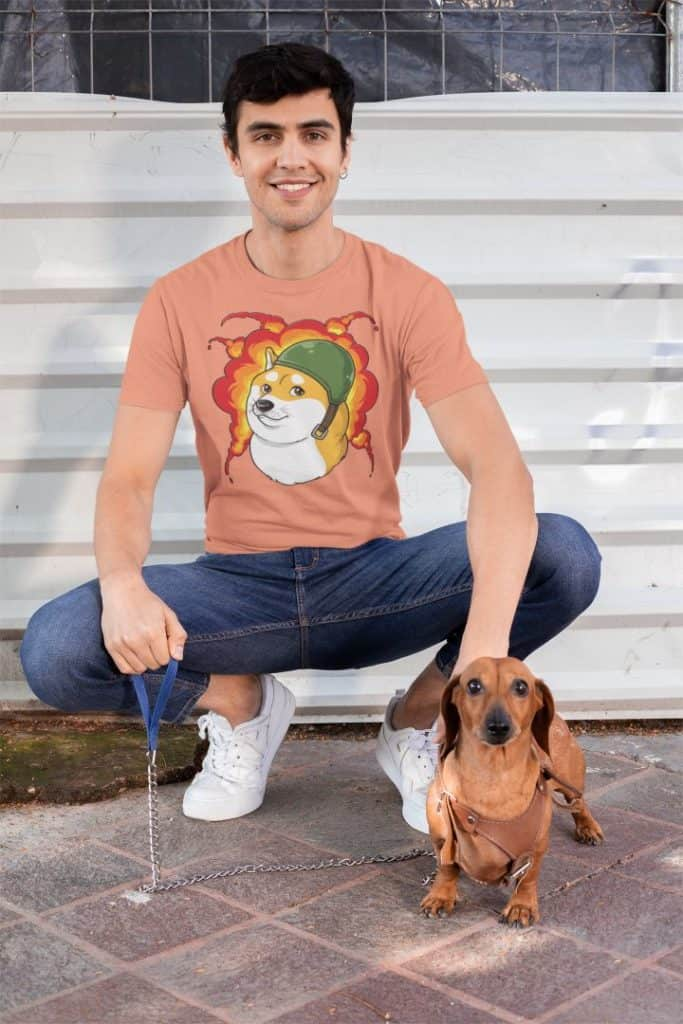 t shirt mockup of a man posing with his dog 30684