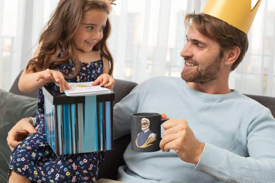 photo of a girl with her dad on fathers day where dad got a slaying senior mug