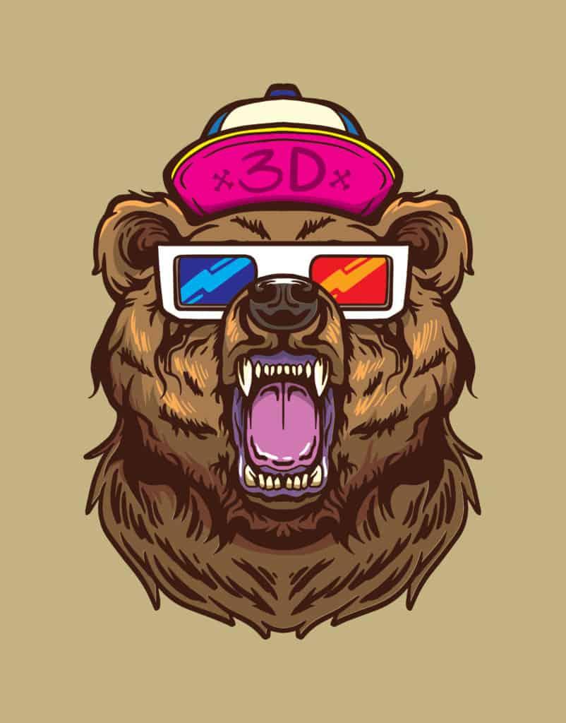 vector art of a 3D bear looking strong