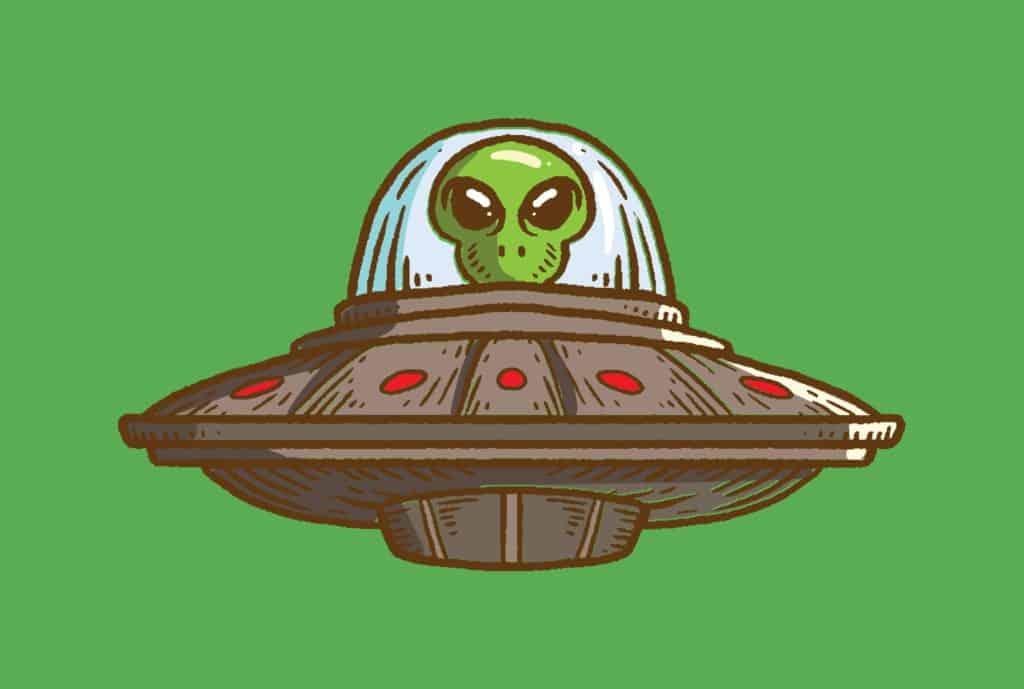 alien on a spaceship vector