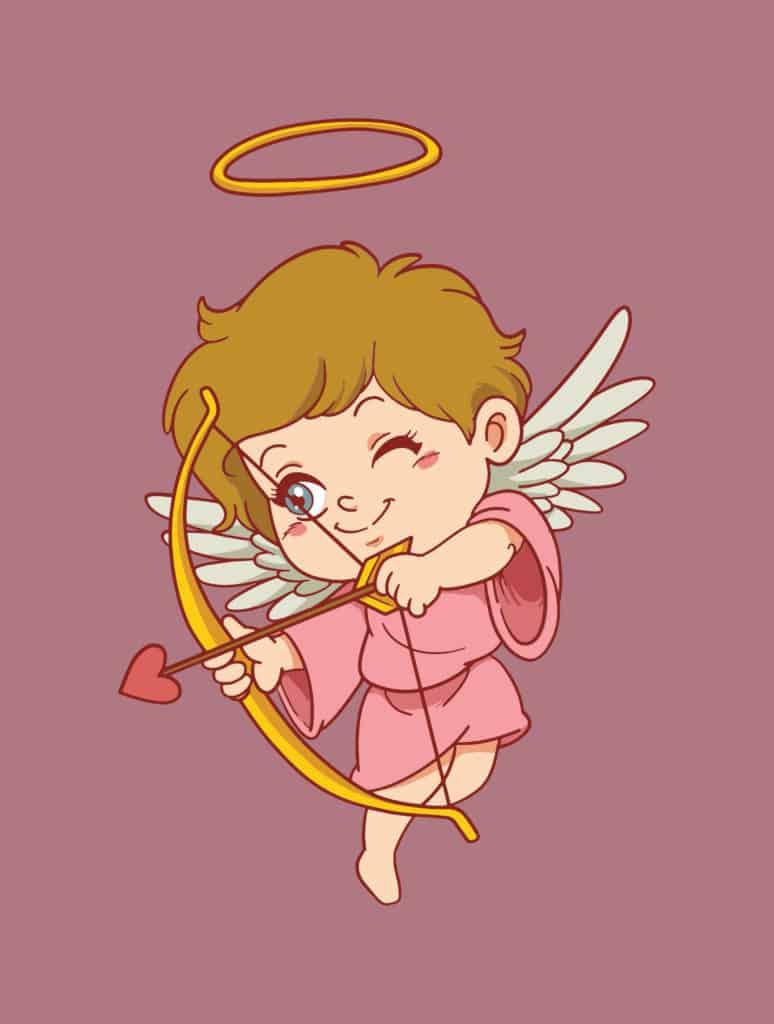 Angelic cupid shooting an arrow