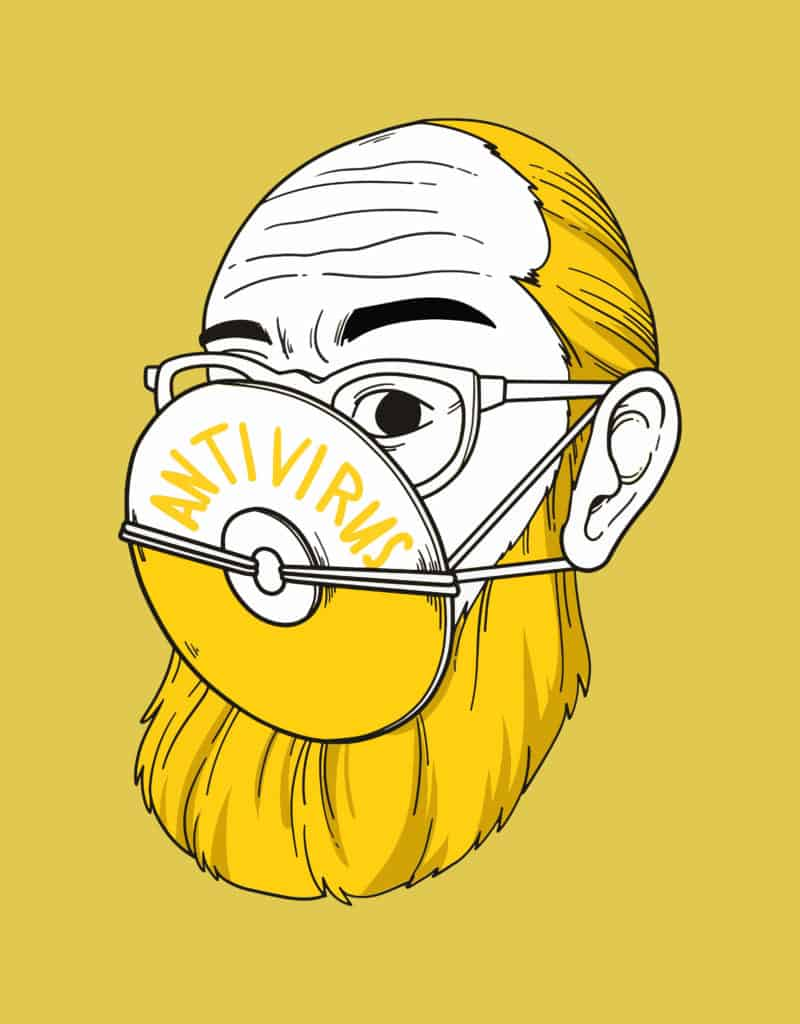 vector art of a bearded man with a disc as face mask