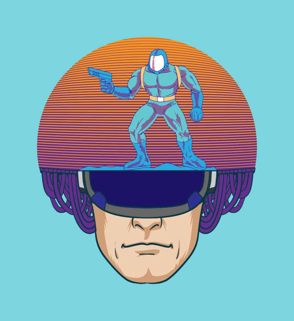vector art of a futuristic police wearing a helmet with robot design