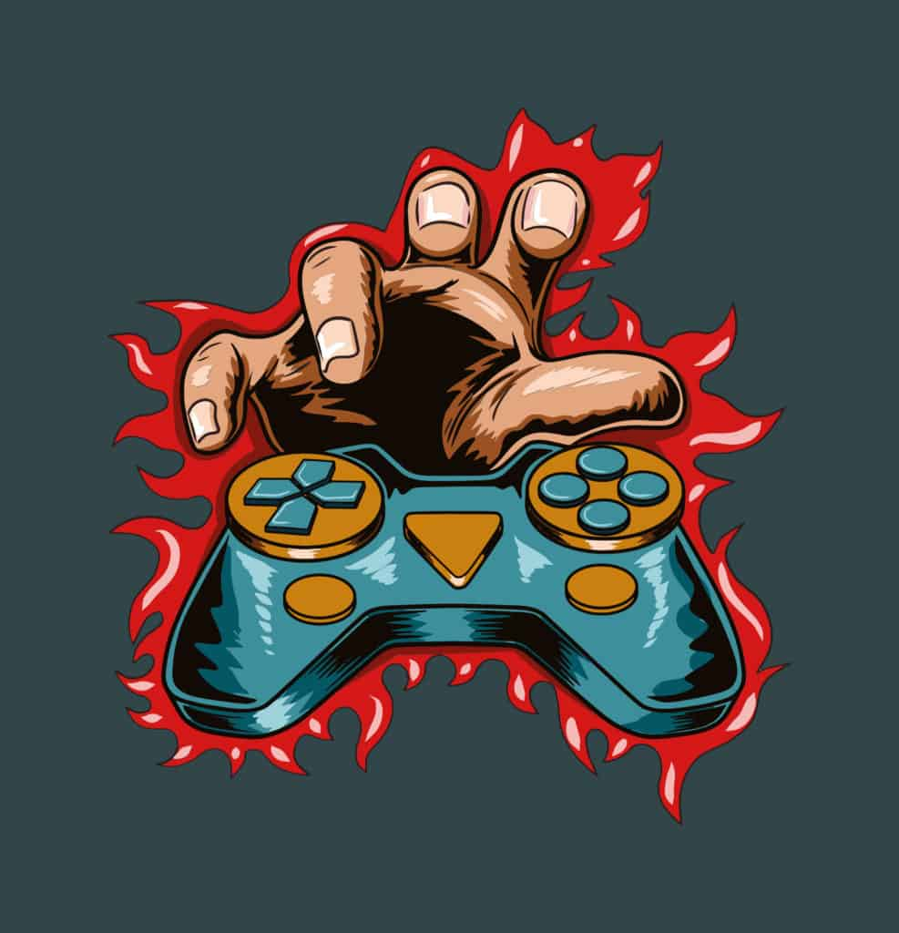 vector art of a play station controller on fire