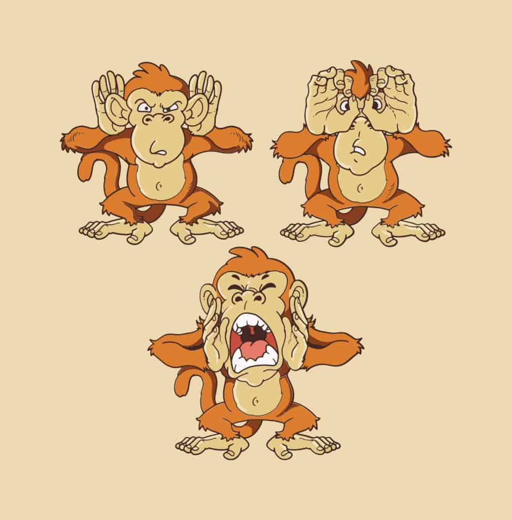 vector art of monkeys giving clues