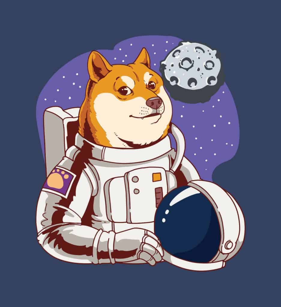 vector art of a dog wearing an astronaut suit