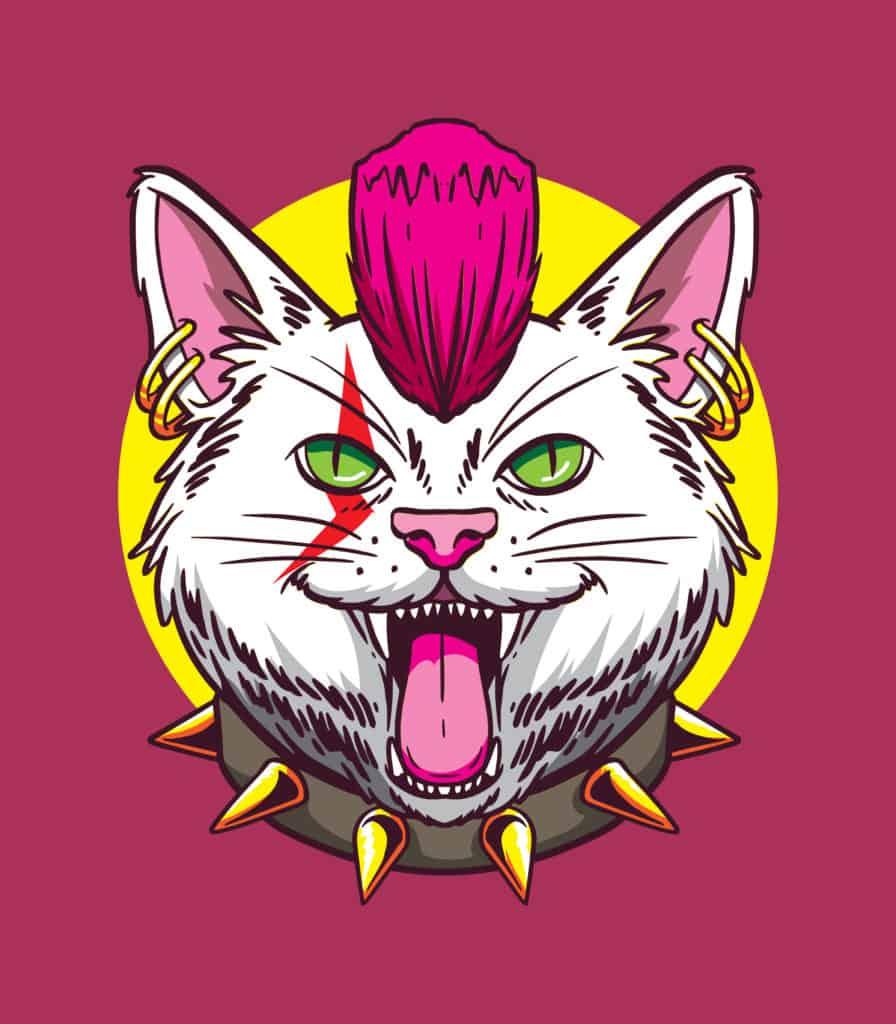 vector art of a cool rocker cat