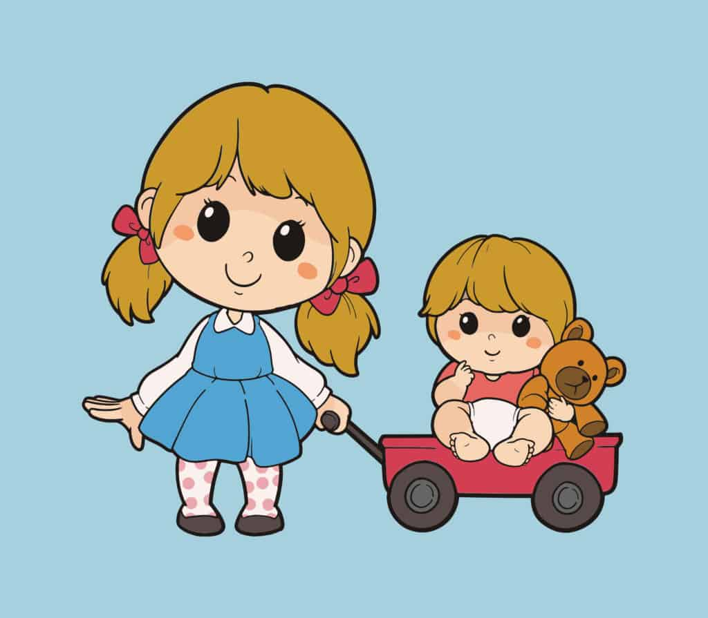 vector art of two little girls playing outside