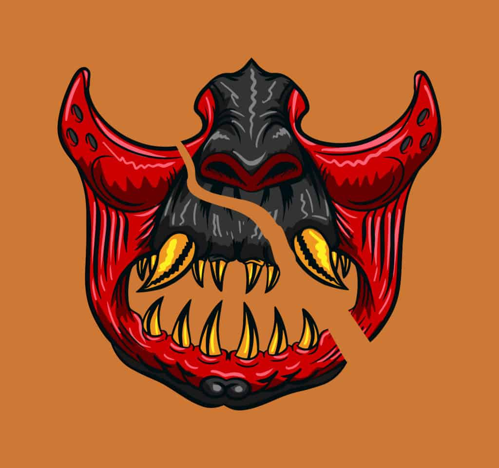 vector art of a slashed samurai face