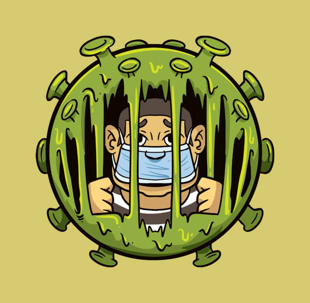 Vector art of a a virus with a masked prisoner on quarantine