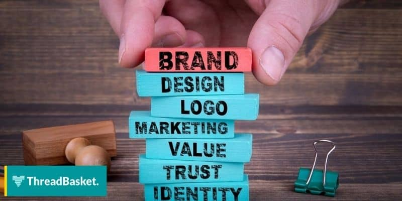 building blocks of what consists a brand identity including logo