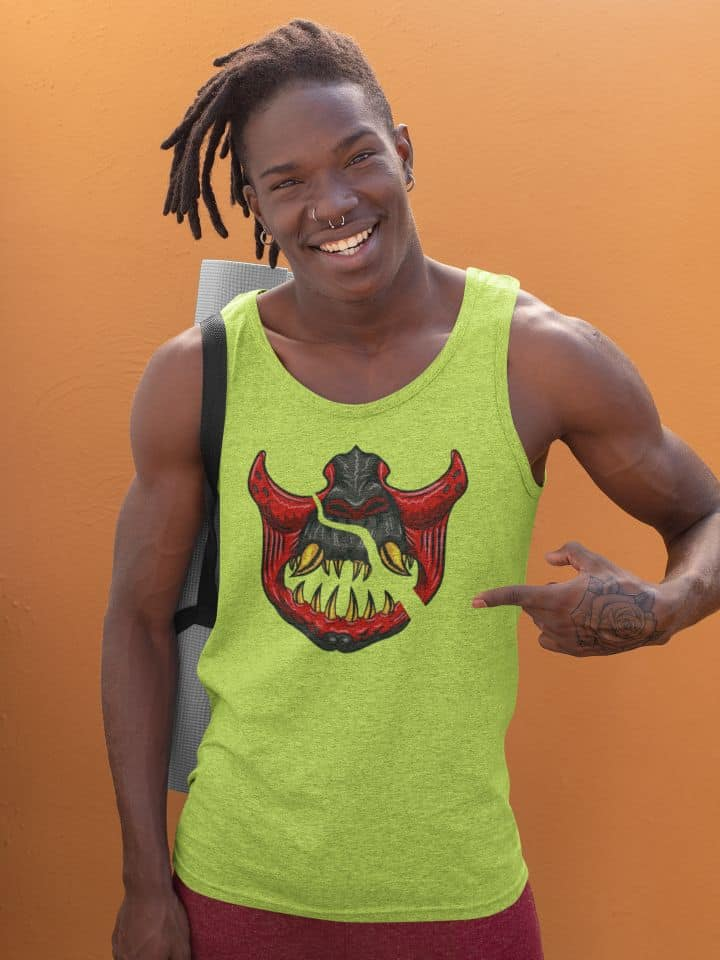 photo of happy man ready to go to a yoga class wearing a yellow tank top with a slashed samurai design