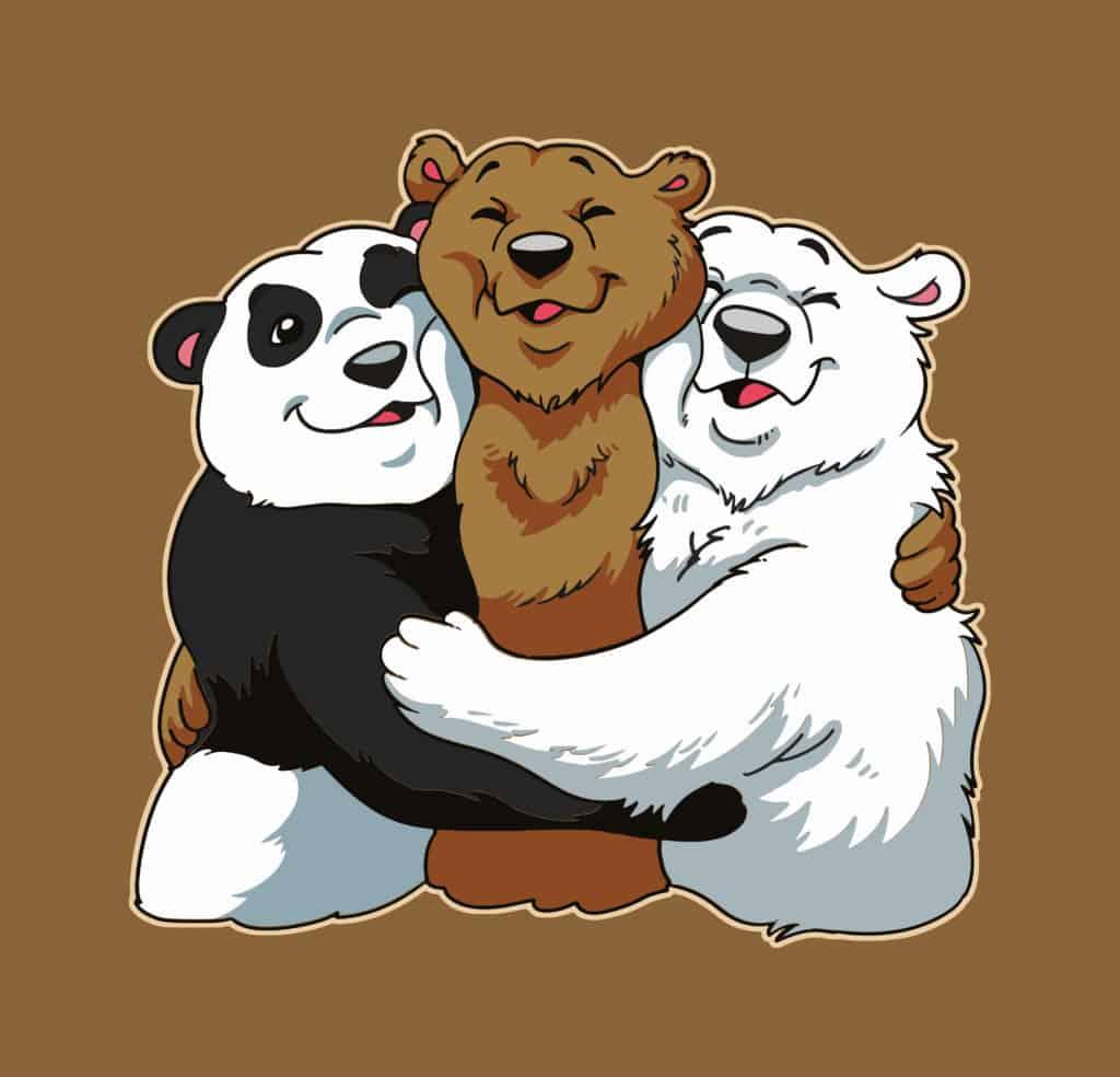 vector art of 3 bears hugging each other