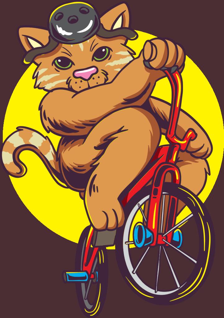 vector art of a cat riding on a BMX