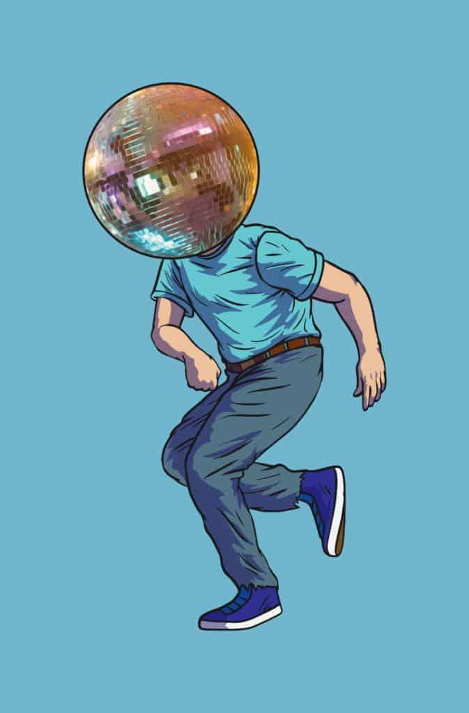 vector art of a man with a disco ball head