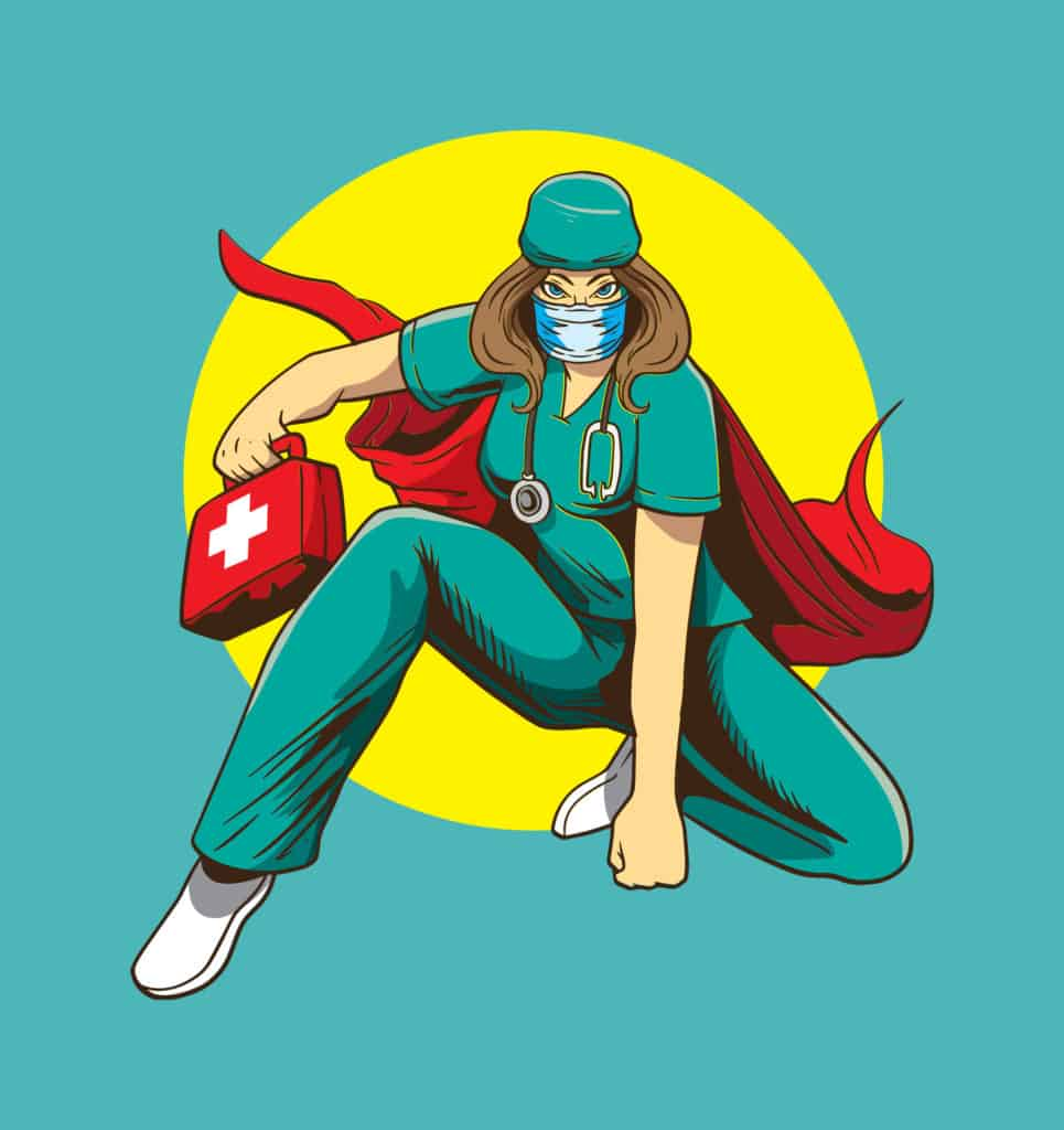 vector art of a healthcare hero with a cape