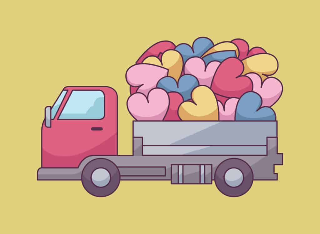 vector art of a truck loaded with hearts