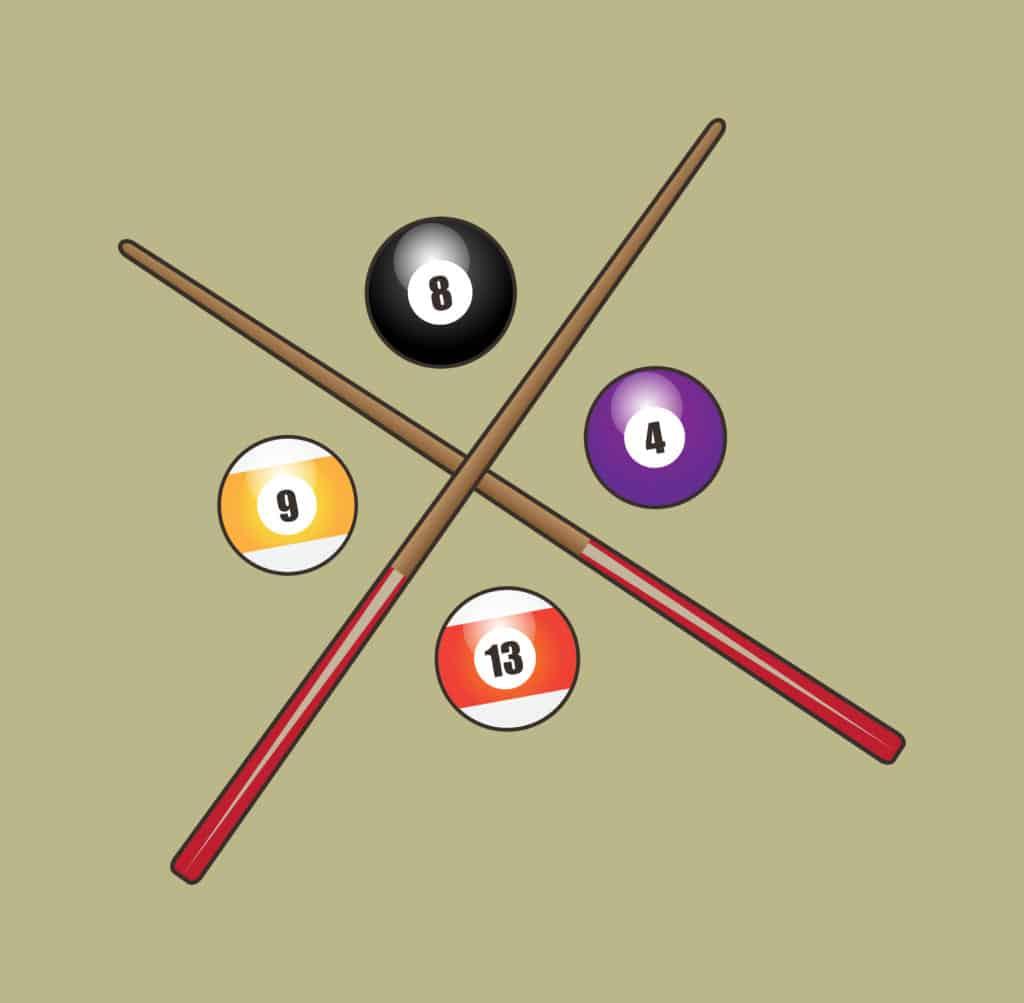 vector art of billiards sticks and balls