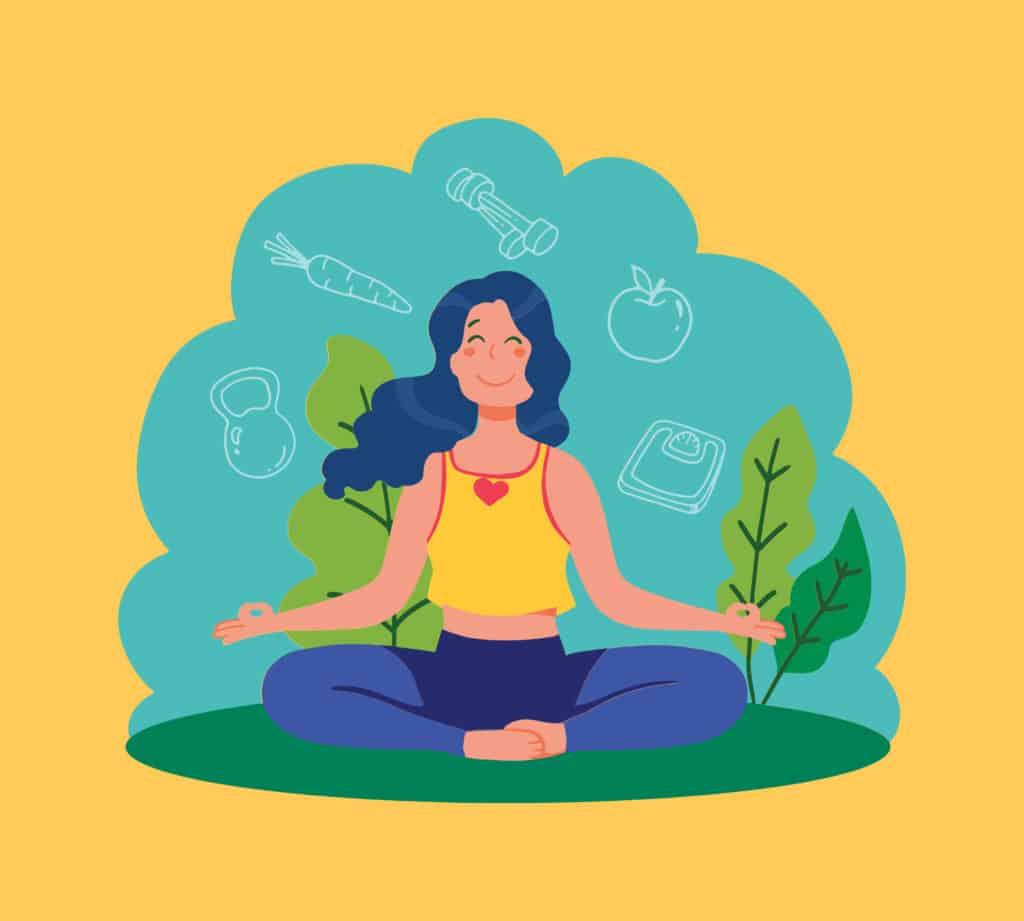 vector art of a woman meditating
