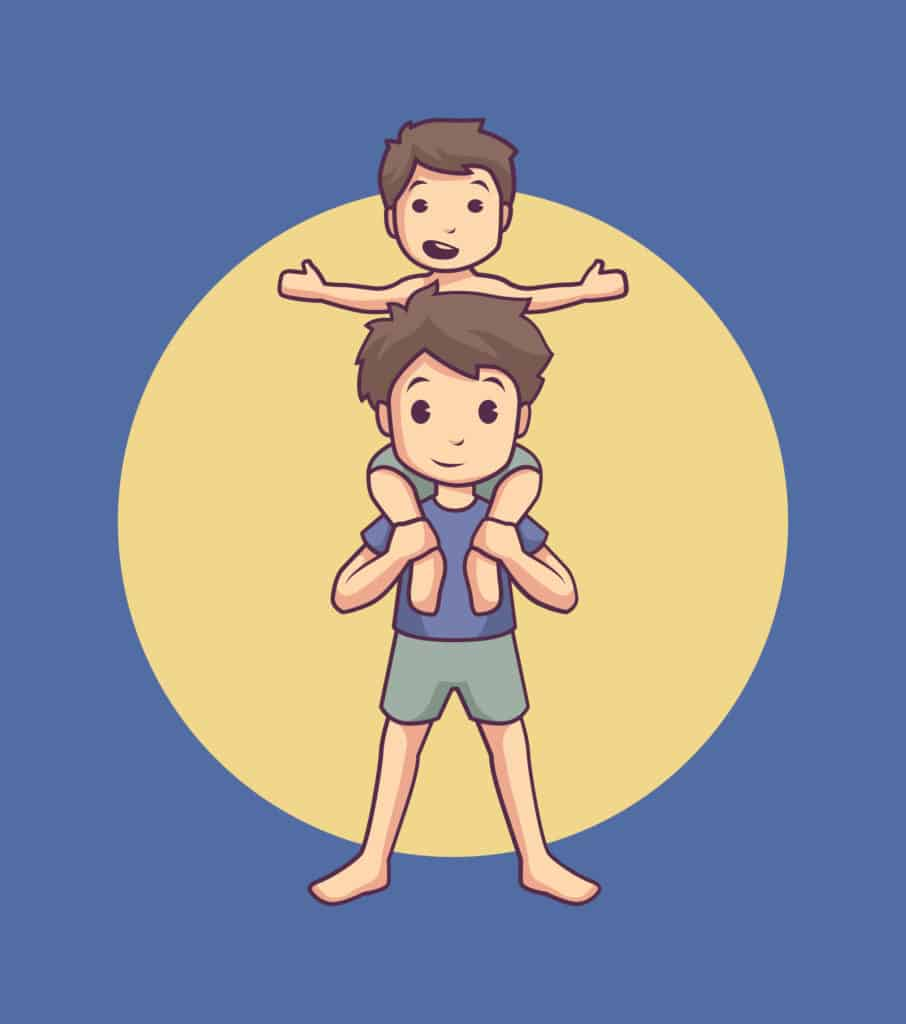 vector art of siblings playing and the little brother is on his big brother's back