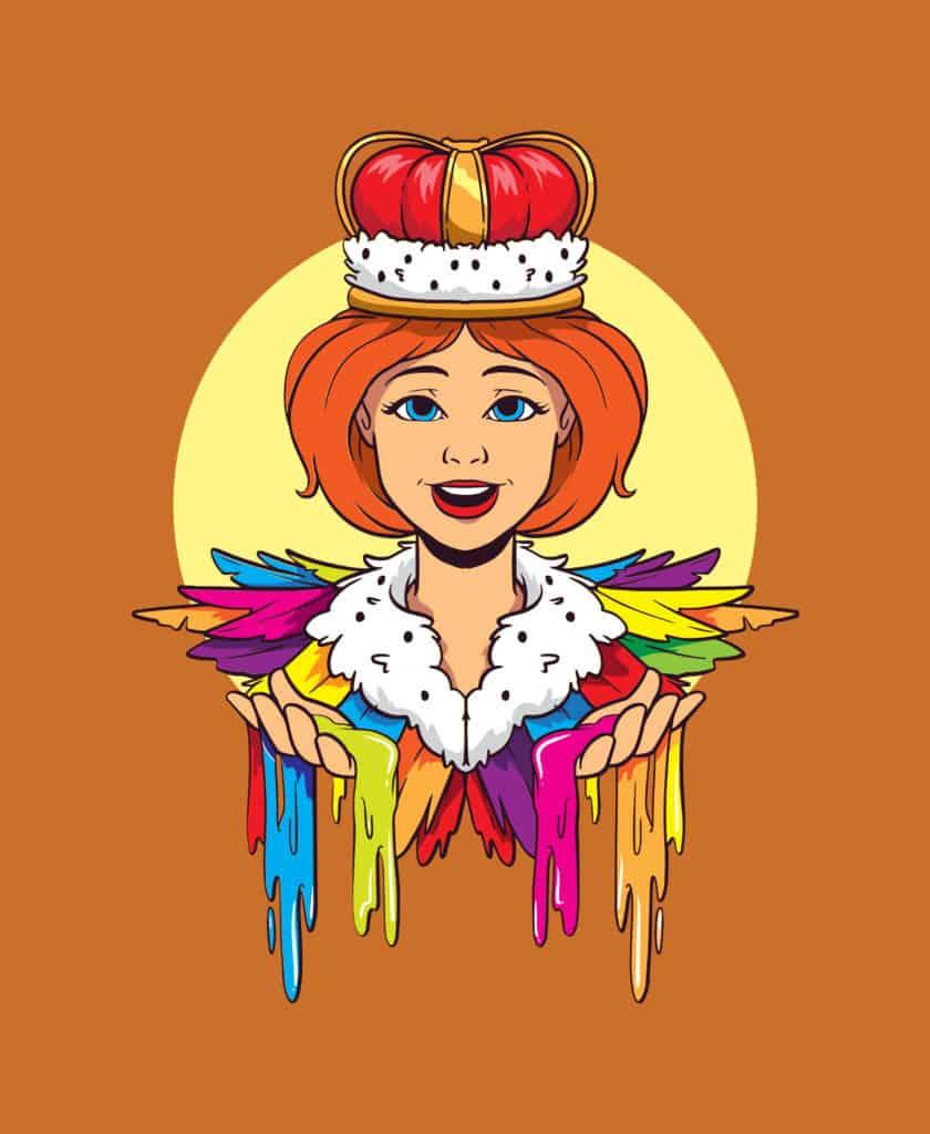 vector art of a queen in rainbow colors