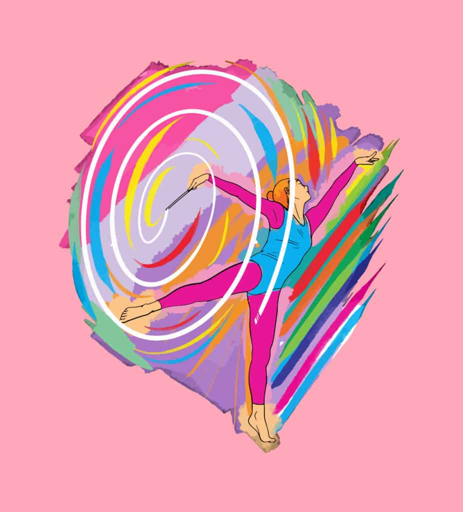 vector art of a gymnast making a colorful swirl