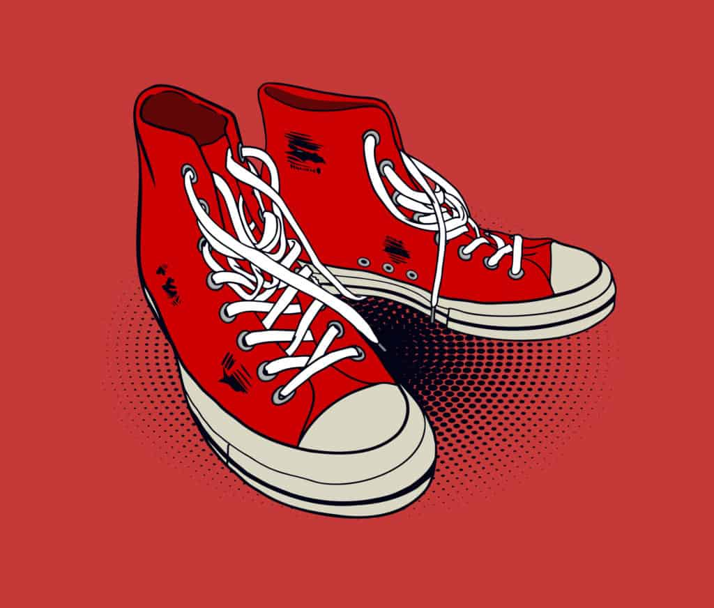 vector art of a red high-cut sneakers