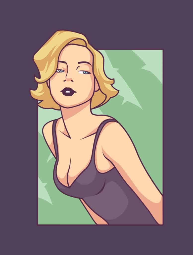 vector art of a pretty woman posing