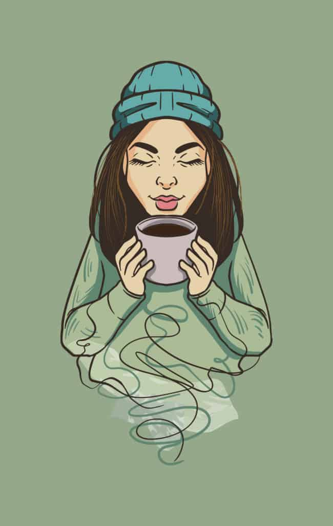 vector art of a girl in a beanie sipping coffee