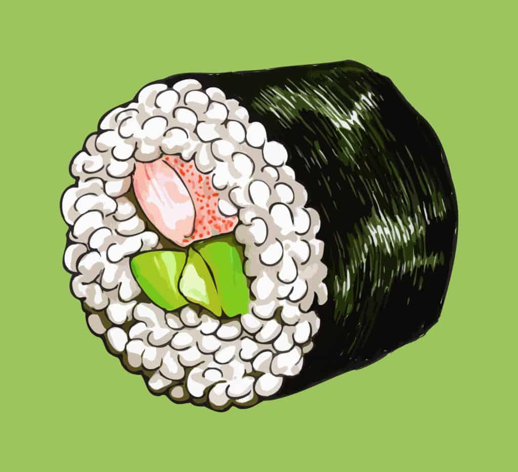 vector art of a yummy sushi roll
