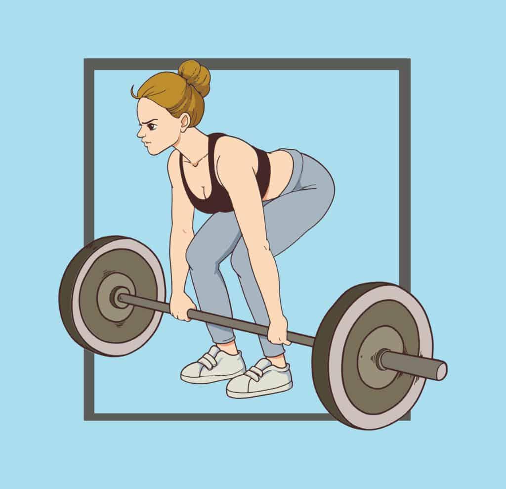 vector art of a woman doing weights