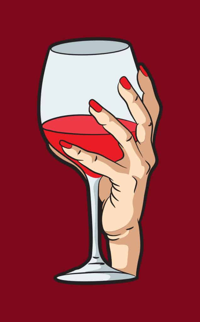 vector art of a hand holding a glass of wine