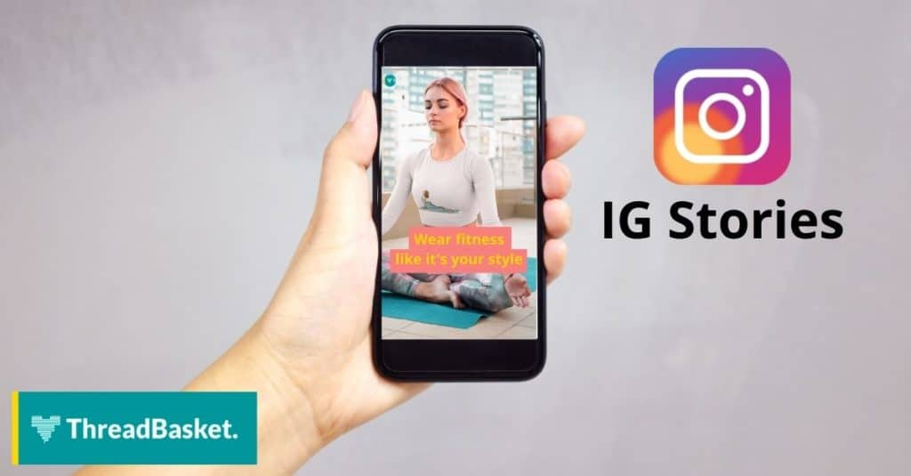 mock up of an iphone with an IG stories running on the screen