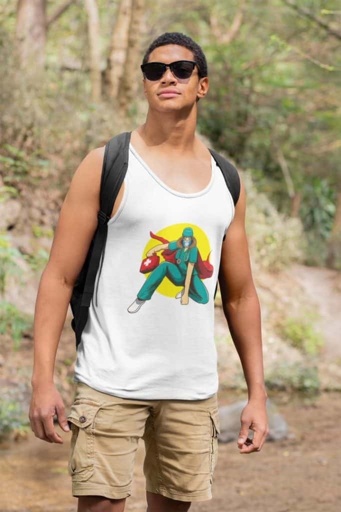 photo of a man going for a hike wearing a tank top with doctor syringe design