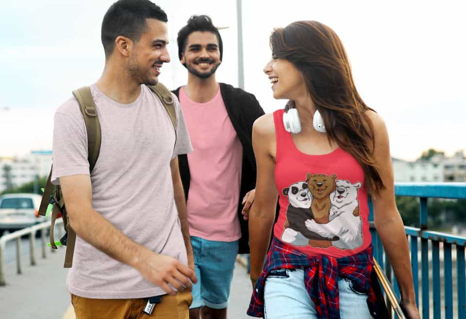 photo of 3 friends walking around having fun and the woman wearing a tank top with big bear hugs design