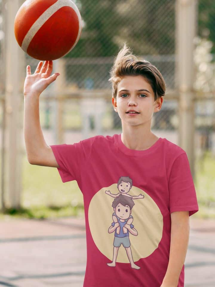 photo of a kid with a basketball wearing a shirt with playing with lil' bro design