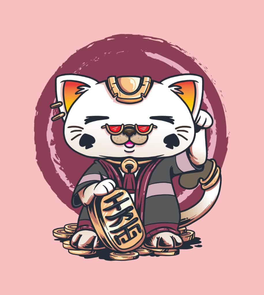 a cat wearing a kimono and charm design