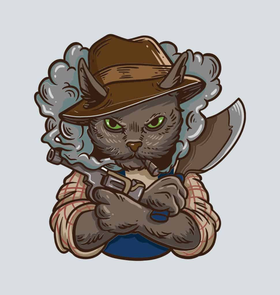 a cat with a hat holding an axe and a gun design