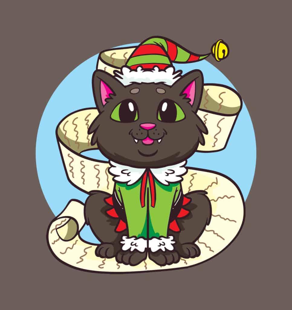a cat wearing an elf clothes design