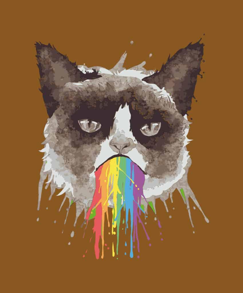 Grumpy cat puking rainbow design