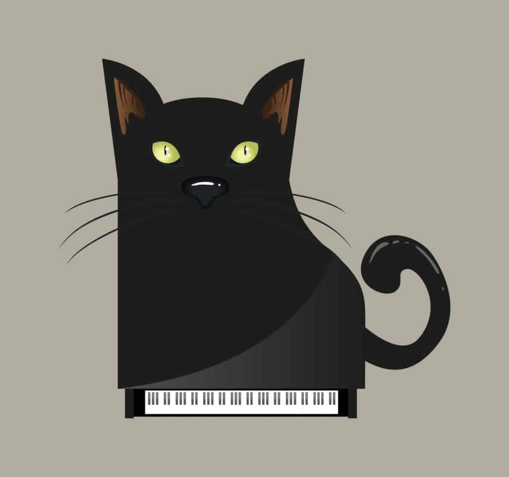 Piano Black Cat design