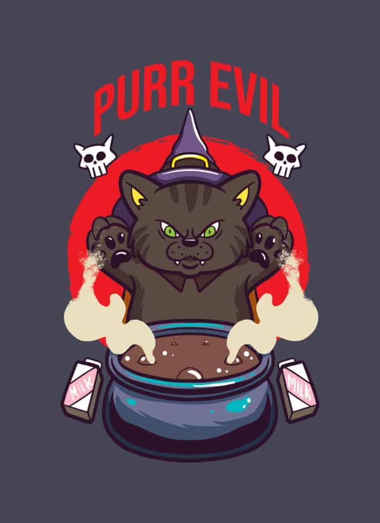a purr evil witch cat plotting something evil