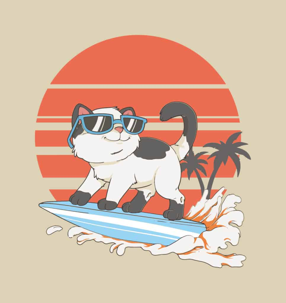 Tropical surfer cat design