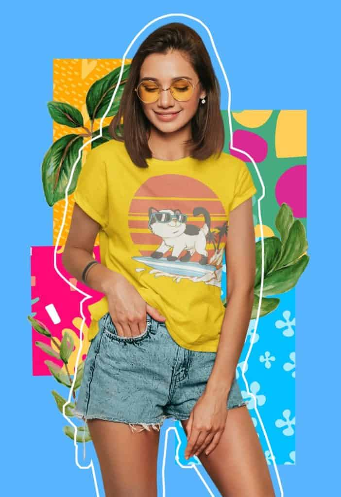 colorful t shirt mockup featuring a young woman against a collage styled background