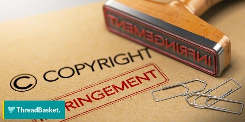 copyright stamp on a brown folder with paper clips