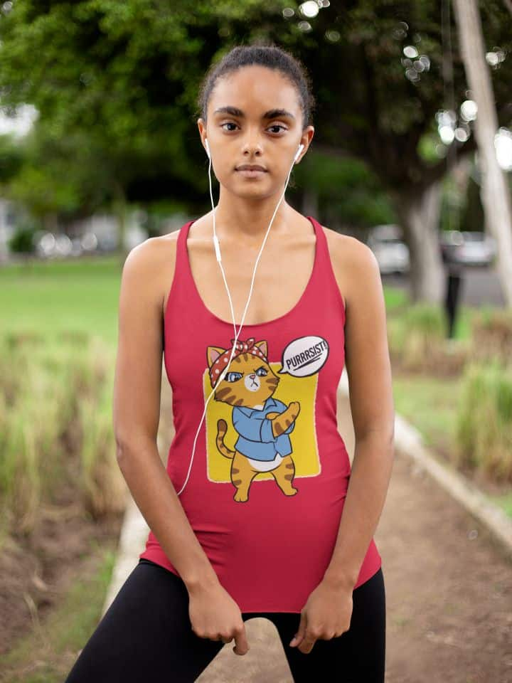 mockup of a girl wearing a racerback tank top at a park