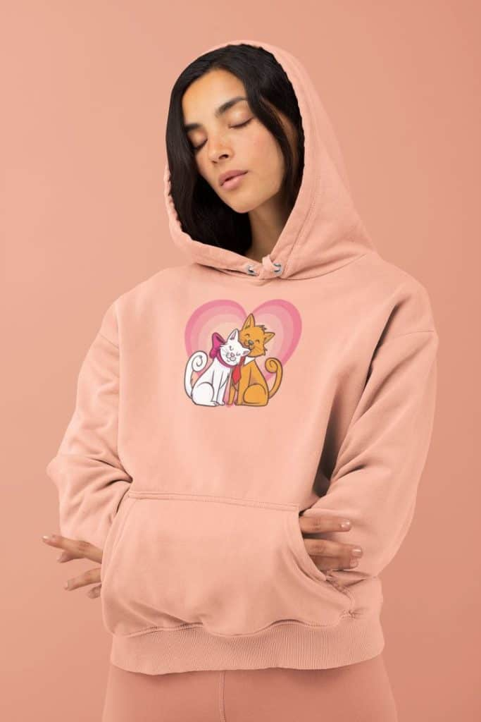 mockup of a woman comfortably wearing a hoodie